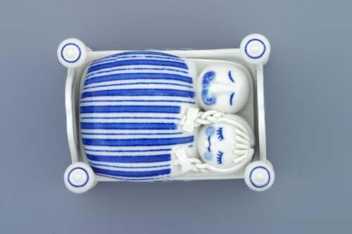 Cibulák Dóza na bonbóny postýlka komplet 12 x 9 cm originální cibulákový porcelán Dubí, cibulový vzor,