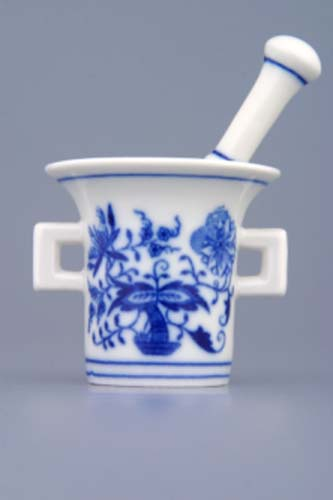 Cibulák Hmoždíř mini komplet 5,8 cm originální cibulákový porcelán Dubí, cibulový vzor,