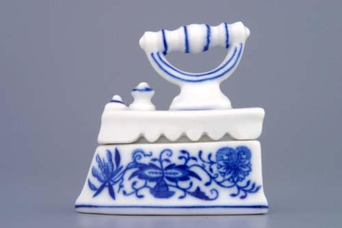 Cibulák Žehlička mini komplet 6,5 cm originální cibulákový porcelán Dubí, cibulový vzor,