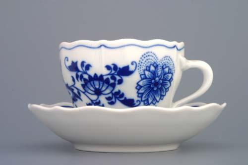 Cibulák šálek + podšálek A/2+B 0,17 l originální cibulákový porcelán Dubí, cibulový vzor,