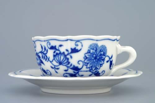 Cibulák šálek + podšálek C/2+ZC/2 zrcadlový podšálek čajový 0,11 l originální cibulákový porcelán Dubí, cibulový vzor,