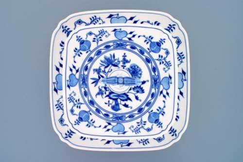 Cibulák Etažér 2-dílný talíře hranaté na noze nízký, porcelánová tyčka 30 cm originální cibulákový porcelán Dubí, cibulový vzor,