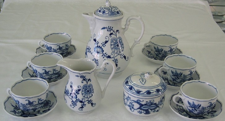 Cibuláková souprava kávová K2 - originální cibulák, cibulový porcelán Dubí