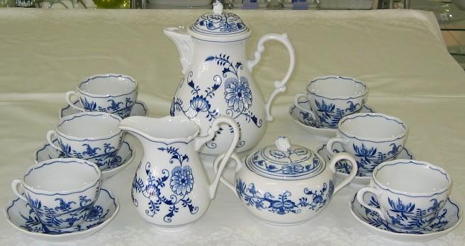 Cibulák souprava sada 15 ks, kávová K3 - originální cibulák, cibulový porcelán Dubí