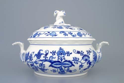 Cibulák Mísa zeleninová kulatá s víkem s výřezem 2,0 l originální cibulákový porcelán Dubí, cibulový vzor