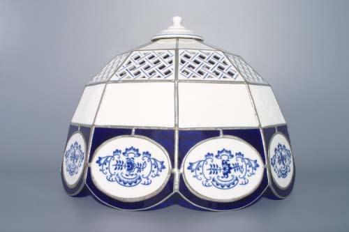Cibulák stínítko vitráž prolamované 9 stěn 35 cm originální cibulákový porcelán Dubí, cibulový vzor
