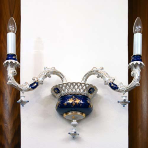 Cibulák Lampa nástěnná dvouramenná 1590 g originální cibulákový porcelán Dubí, cibulový vzor
