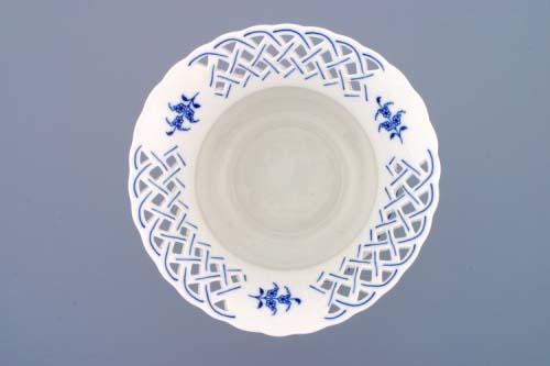 Cibulák Květináč prolamovaný na noze vysoký 20 cm originální cibulákový porcelán Dubí, cibulový vzor