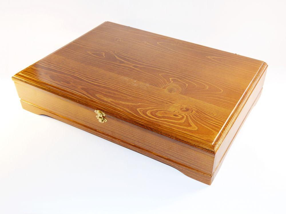 Cibulák Luxusní příborová souprava v dřevěné kazetě 51 x 36 cm originální cibulákový porcelán Dubí, cibulový vzor,