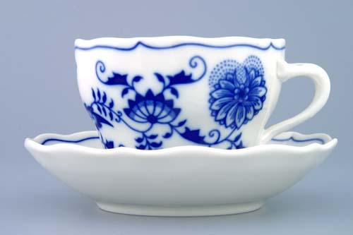 Cibulák šálek + podšálek B+ZB zrcadlový podšálek 0,20 l originální cibulákový porcelán Dubí, cibulový vzor,