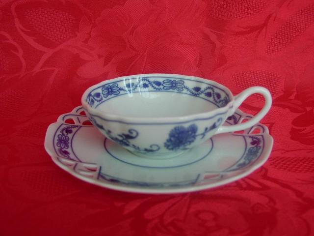 Cibulák šálek + podšálek čaj ozdobný 1 ks 0,20 l originální cibulákový porcelán Dubí, cibulový vzor,