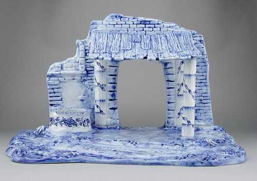 Cibulák Salaš 48 x 54 x 32 cm originální cibulákový porcelán Dubí, cibulový vzor