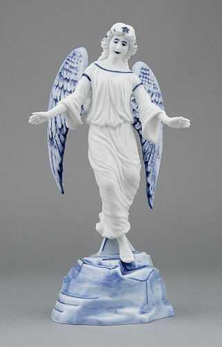 Cibulák Anděl na podstavci 23 cm originální cibulákový porcelán Dubí, cibulový vzor