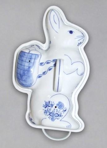 Pečící forma zajíc 35,5 cm originální cibulákový porcelán Dubí, cibulový vzor