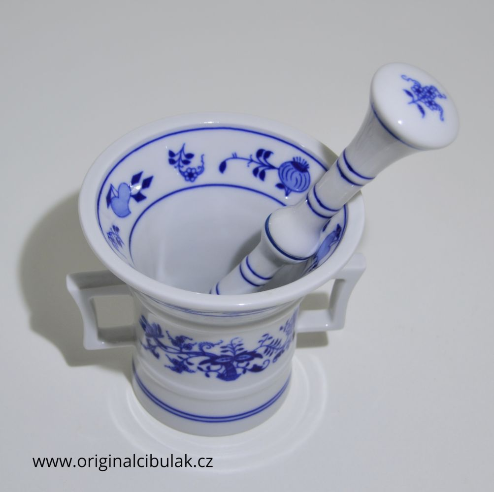 Cibulák Hmoždíř s tloukem 10 cm originální cibulákový porcelán Dubí, cibulový vzor