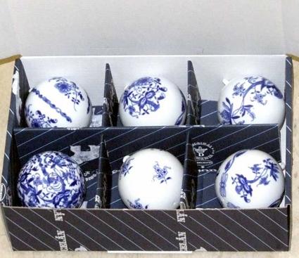 Cibulák Vánoční kouličky 5,8 cm sada 6 ks, originální cibulákový porcelán Dubí, cibulový vzor