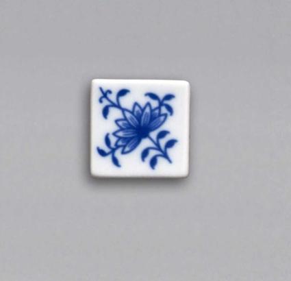 Cibulák Magnetka vitráž čtvereček 3 cm, originální cibulákový porcelán Dubí, cibulový vzor,
