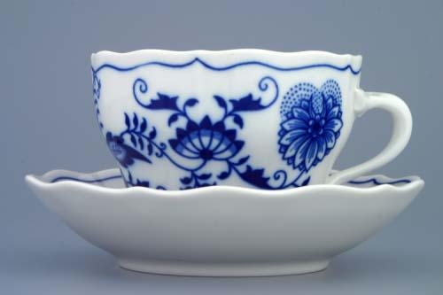 Cibulák Šálek a podšálek B+B 0,20 l cibulový porcelán Dubí, originální cibulák