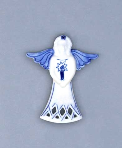 Cibulák Vánoční ozdoba anděl svíce 11 cm originální cibulákový porcelán Dubí, cibulový vzor,