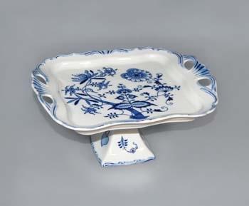 Cibulák podnos Aida čtvercový na noze 15 cm originální cibulákový porcelán Dubí, cibulový vzor,