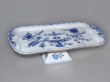 Cibulák podnos Aida obdélníkový na noze 15 cm, originální cibulákový porcelán Dubí, cibulový vzor,