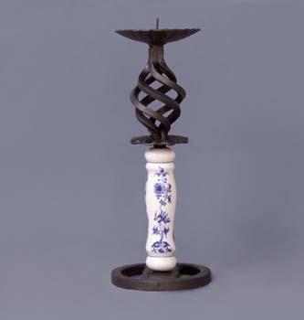Cibulák Krbový svícen vysoký 29 cm originální cibulákový porcelán Dubí, cibulový vzor