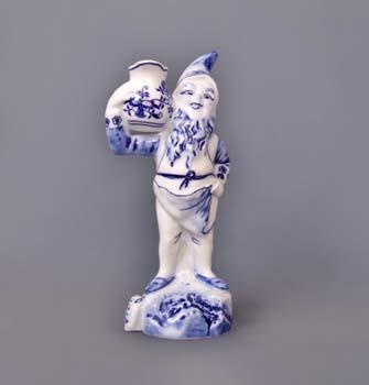 Cibulák trpaslík domácí Jaroslav, 19 cm, originální cibulákový porcelán Dubí, cibulový vzor,