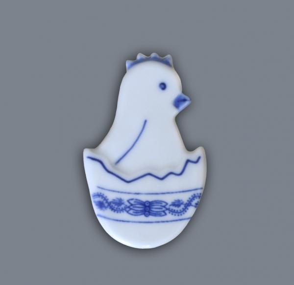Cibulák Magnetka kuřátko ve skořápce 5,5 cm originální cibulákový porcelán Dubí, cibulový vzor,