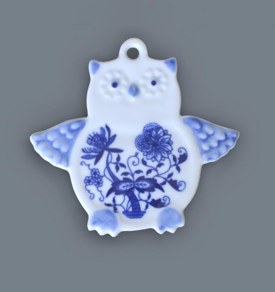 Cibulák Magnetka sova 9 cm originální cibulákový porcelán Dubí, cibulový vzor,