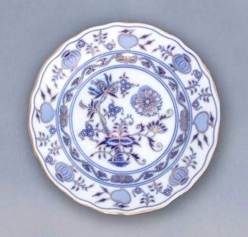 Talíř dezertní praporový 19 cm - originální cibulák zlacený, cibulový porcelán Dubí