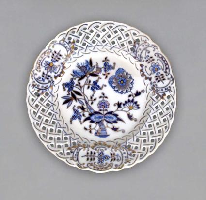 Talíř prolamovaný originální cibulák zlacený 27 cm cibulový porcelán Dubí