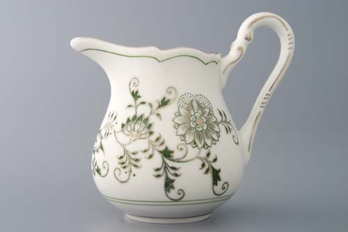 Mlékovka vysoká 0,16 l, originální cibulák zelený s platinou, cibulový porcelán Dubí