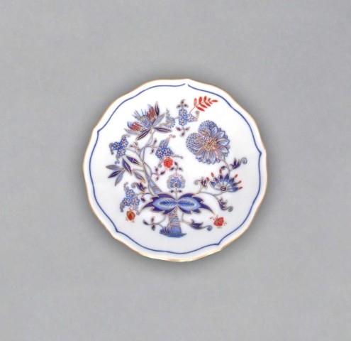 Podšálek A/1, 13 cm, originální cibulák zlacený s dekorací rubín, cibulový porcelán Dubí
