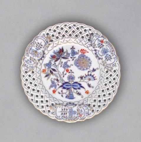 Talíř prolamovaný originální cibulák zlacený s dekorací rubín 27 cm cibulový porcelán Dubí