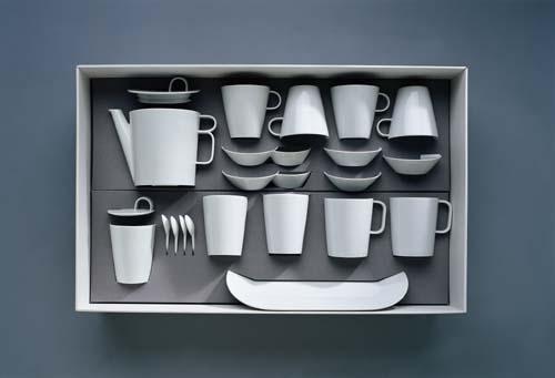 Čajová souprava Bohemia White - design prof. arch. Jiří Pelcl, cibulový porcelán Dubí