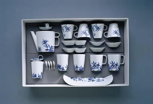 Čajová souprava Bohemia Cobalt - design prof. arch. Jiří Pelcl, cibulový porcelán Dubí