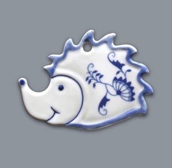 Cibulák vánoční ozdoba/oboustranná ježek 8 cm originální cibulákový porcelán Dubí, cibulový vzor,
