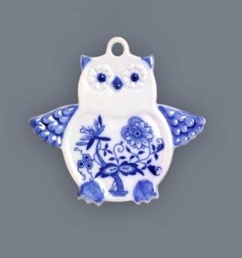 Cibulák vánoční ozdoba sova 9 cm originální cibulákový porcelán Dubí, cibulový vzor,