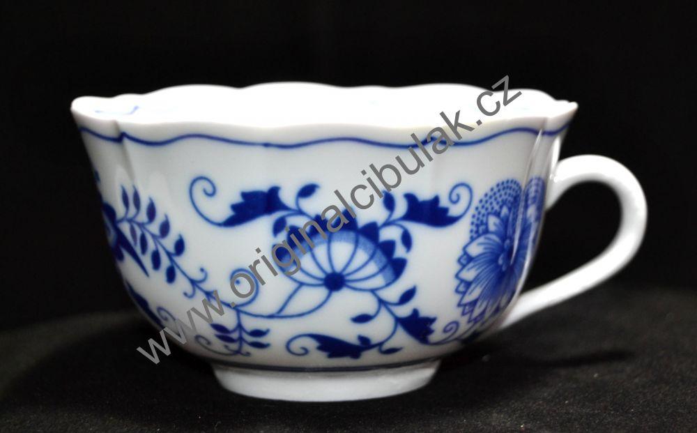 Šálek a podšálek C/1+ZC1 (zrcadlový podšálek) čajový, 0,20 l , originální cibulákový porcelán Dubí, cibulový vzor,