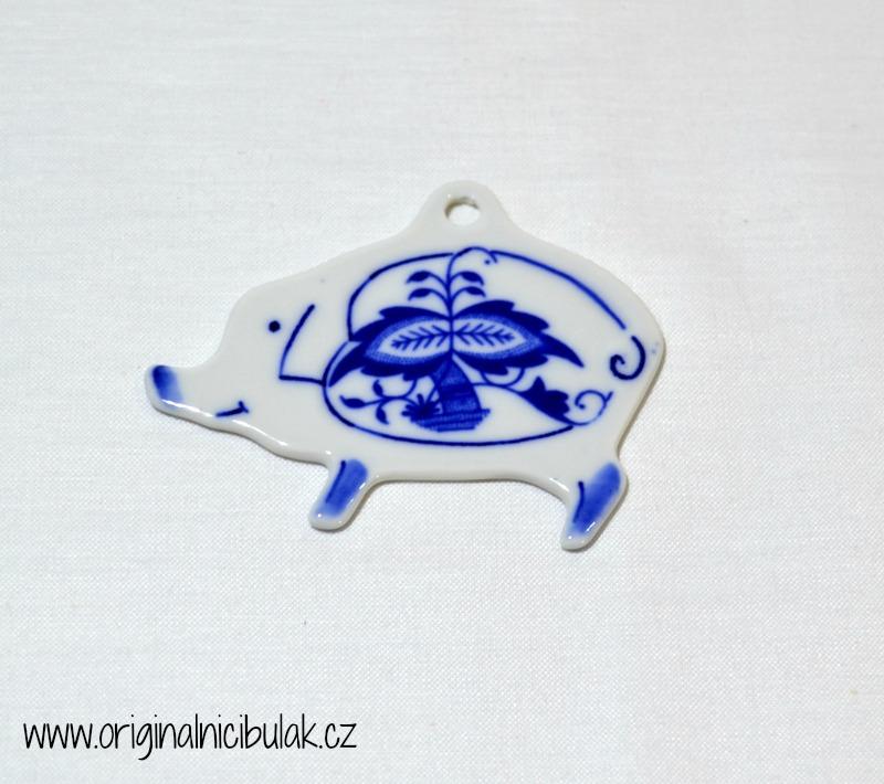 Cibulák vánoční ozdoba prasátko závěs 7,7 cm, originální cibulákový porcelán Dubí, cibulový vzor