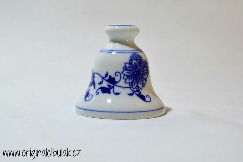 Cibulák zvonek s bambulkou zmenšený, 6,4 cm, originální cibulákový porcelán Dubí, cibulový vzor 1. jakost
