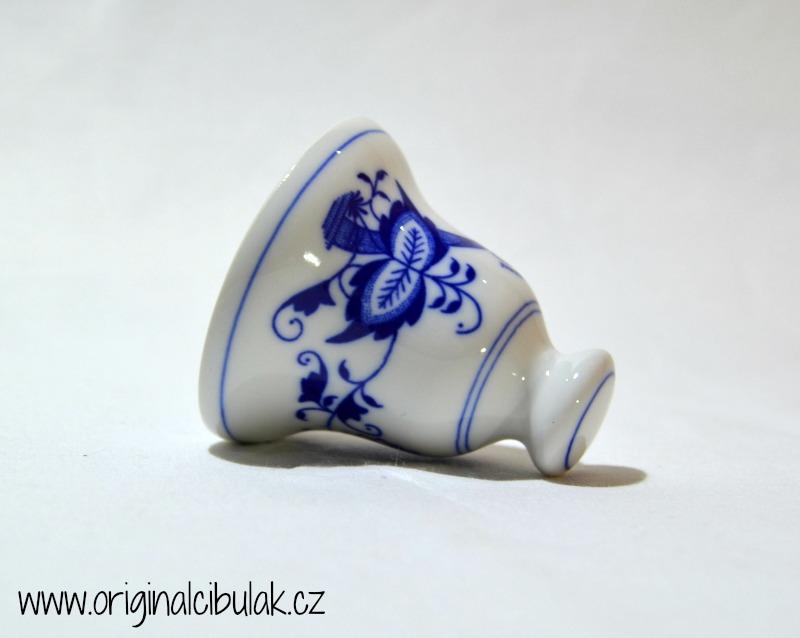 Cibulák zvonek s bambulkou zmenšený, 6,4 cm, originální cibulákový porcelán Dubí, cibulový vzor