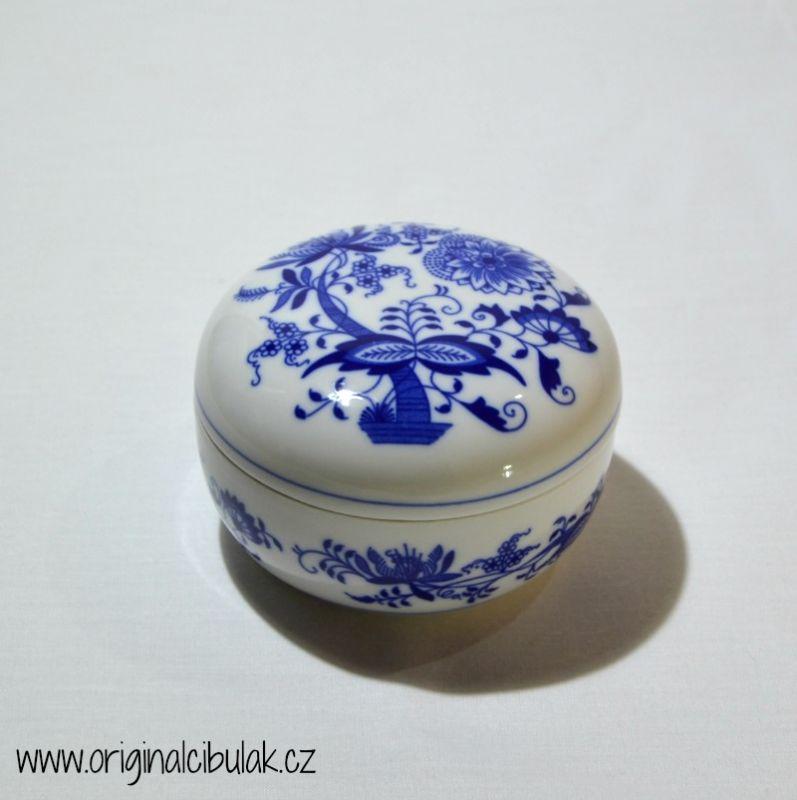 Cibulák dóza kulatá 7 cm originální cibulákový porcelán Dubí, cibulový vzor,