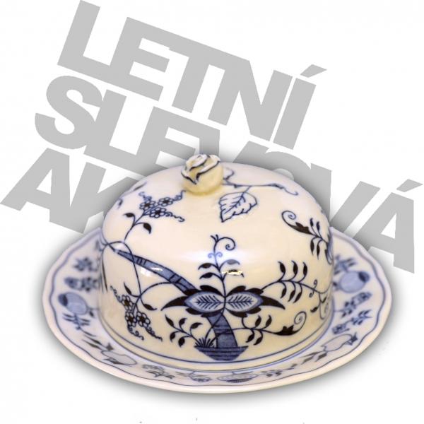 Cibulák Dóza na sýr kulatá 19 cm originální cibulákový porcelán Dubí, cibulový vzor,