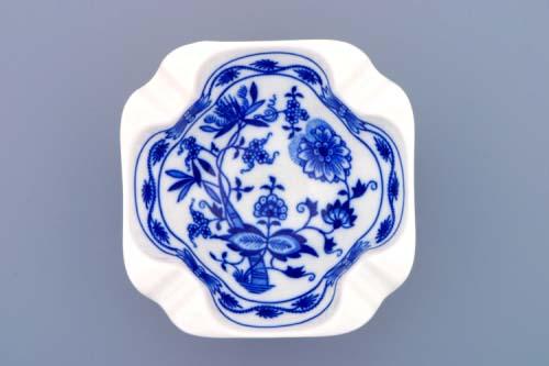 Cibulák popelník čtyřhranný 12,5 cm originální cibulákový porcelán Dubí, cibulový vzor, 2.jakost