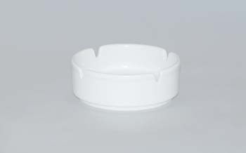 Popelník porcelán bílý reklamní kulatý 10 cm Český porcelán Dubí