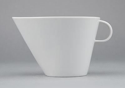 Omáčník porcelánový bílý Hotelový s hubičkou velký 0,34l Český porcelán Bohemia