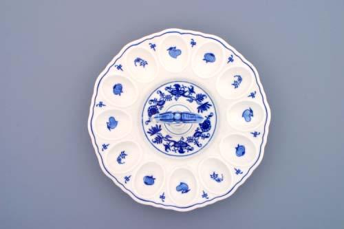 Cibulák podnos párty na vejce s porcelánovým klíčem 15 cm originální cibulákový porcelán Dubí, cibulový vzor
