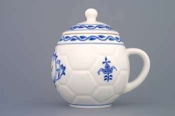 Tělo hrnku na med - bez víčka - s nápisem Med cibulák 0,40 l originální cibulákový porcelán Dubí, cibulový vzor