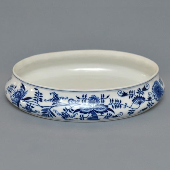 Spodní díl bonboniéry oválné na 1 kg s víkem 29 cm originální cibulákový porcelán Dubí, cibulový vzor,